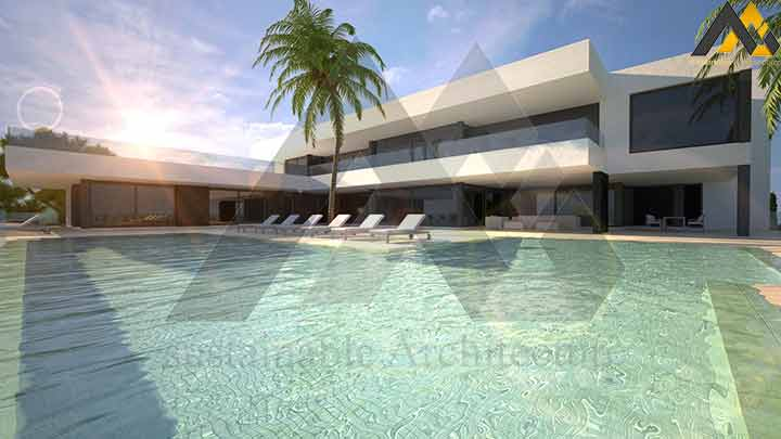 Three stories luxury villa plan