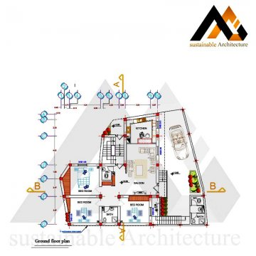 One storey residential house map
