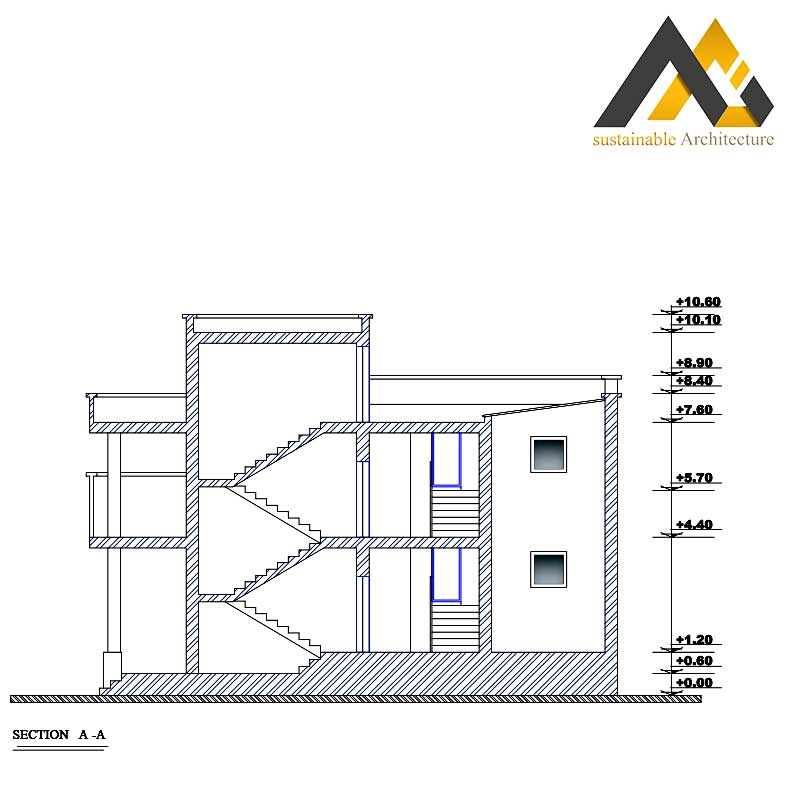 Two storeys duplex residential building plan