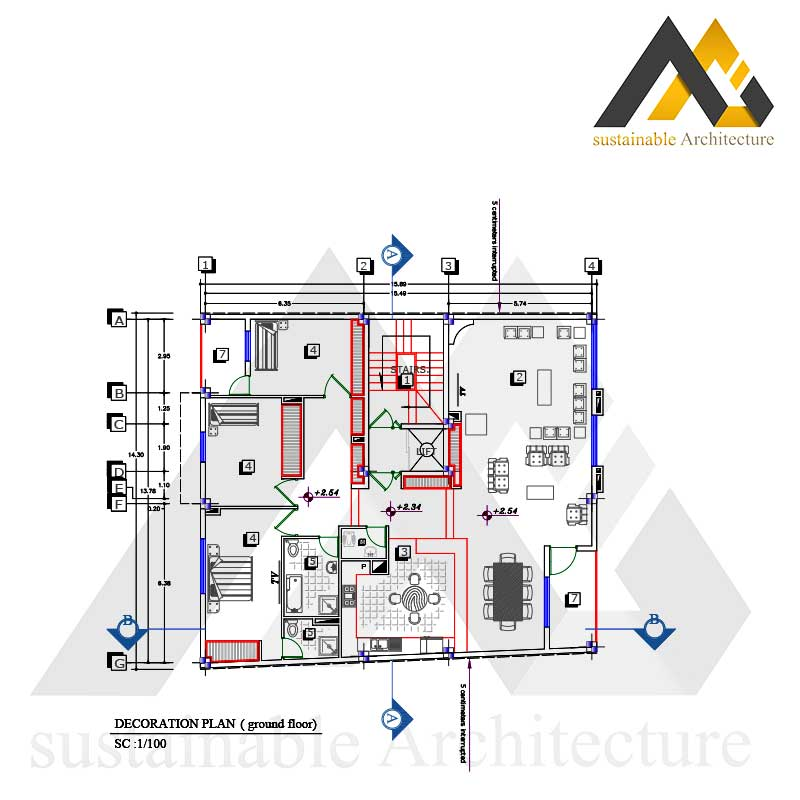 residential executive plan with 14.30 width