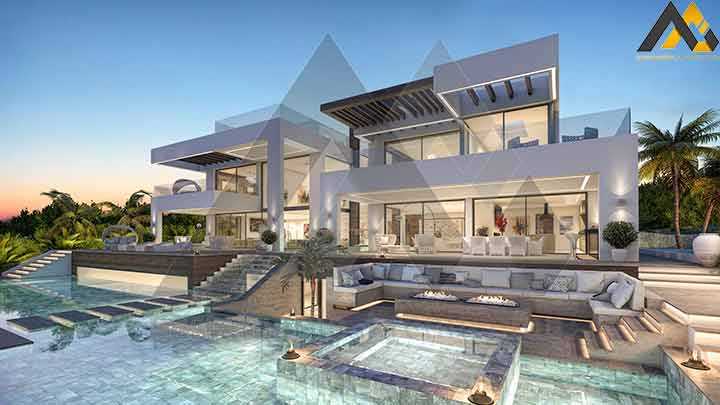 Two storeys villa design with the basement