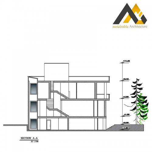 three storeys residential building plan