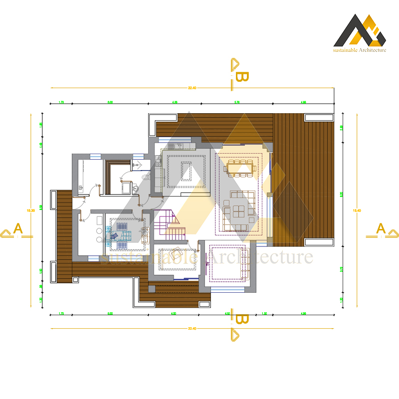 Amazing plan of a two storey villa with 19 widthAmazing plan of a two storey villa with 19 width