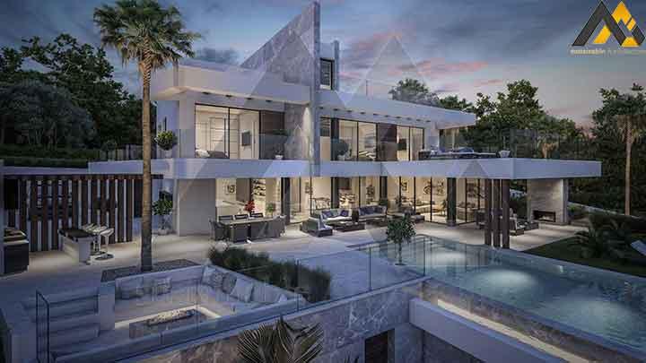 The modern three stories luxury villa