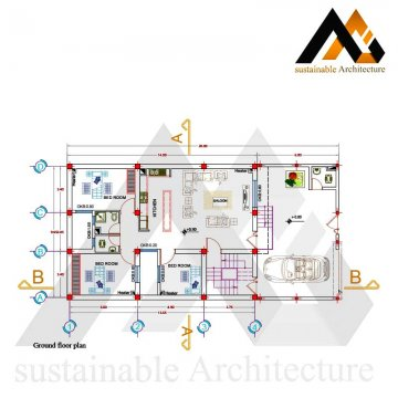 One storey residential building map