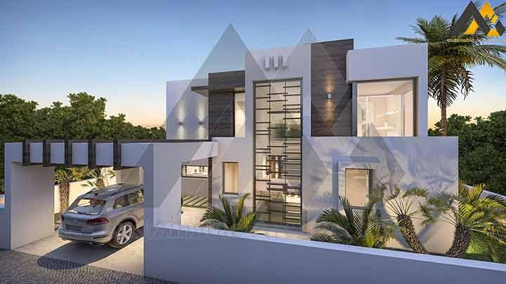 Modern duplex villa plan