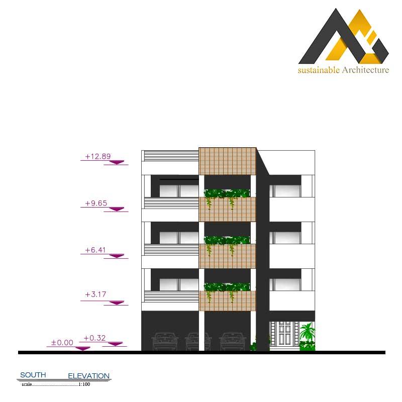 Four storeys residential apartment plan