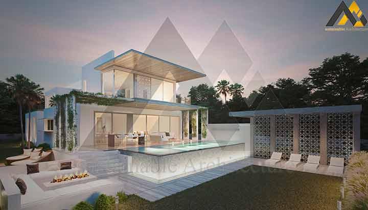 Plan of a two-storey villa