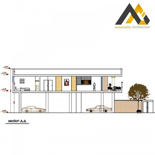 Plan of residential executive with 12 width