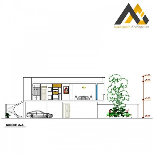 residential executed plan with 8 width