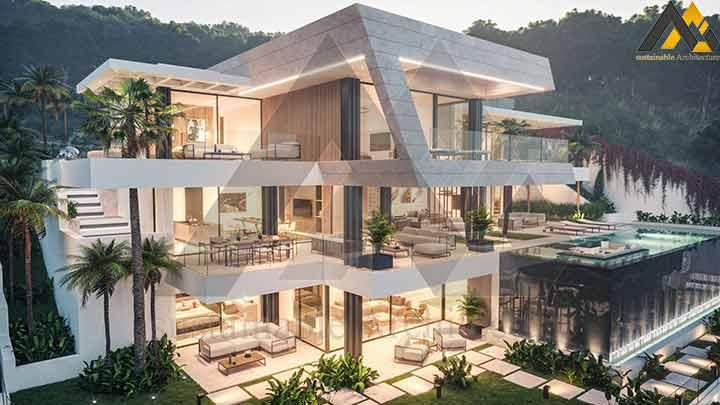 The luxury three storeys villa