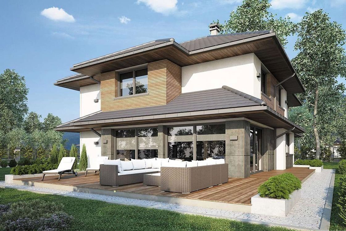 Villa with a gable roof with a width of 19