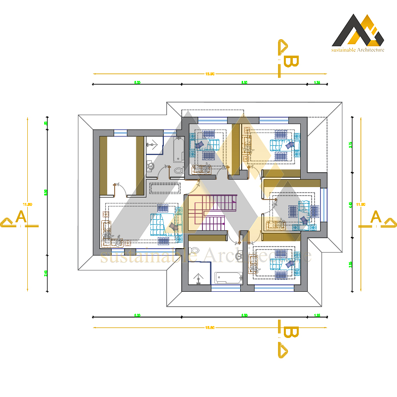 Amazing plan of a two storey villa with 19 width