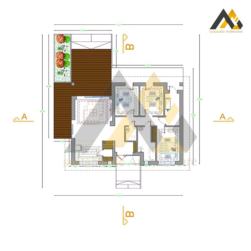 Design of a modern gabled villa