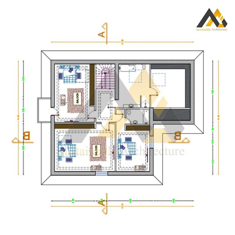 Plan of 2 storeys villa